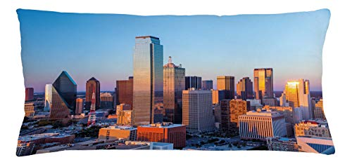 Dallas Club Chair - Ambesonne United States Throw Pillow Cushion Cover, Dallas Texas City with Blue Sky at Sunset Metropolitan Finance Urban Center, Decorative Rectangle Accent Pillow Case, 36