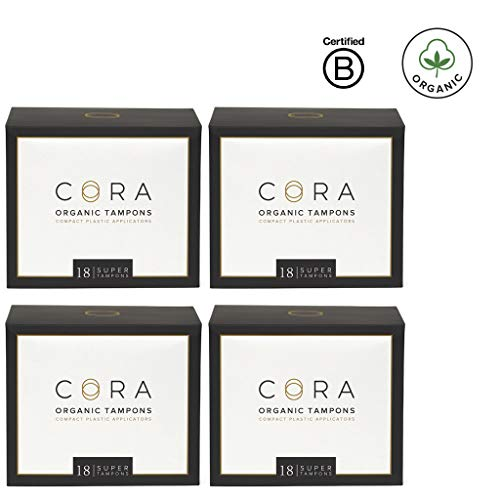 Cora Organic Cotton Tampons with Compact Applicator - Super (72 Count)