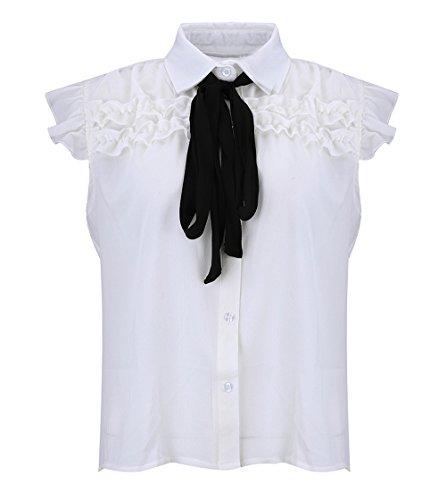 sans T Tee Blanc Chemisiers Manches Femme Haut Couleur Casual N Dbardeurs Shirts t Shirts Blouse Tops Unie Chemises ud Revers Papillon YRwx1O
