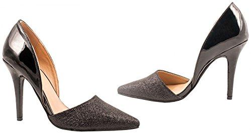 Elara Damen Pumps | Spitze Stiletto High Heels | Moderne Pumps Schwarz Paris