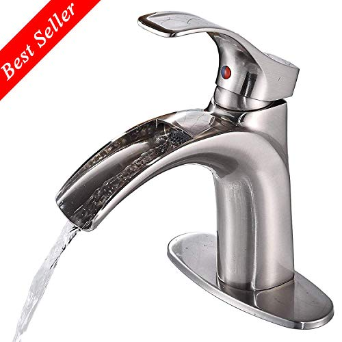 Sd Single Handle Curved Waterfall Spout Brushed Nickel Faucet Short Type Bathroom Sink Faucet with One Hole Deck Mount and Faucet Supply Lines Brass Commercial Bath Fixture Vessel Faucet - Short Brushed