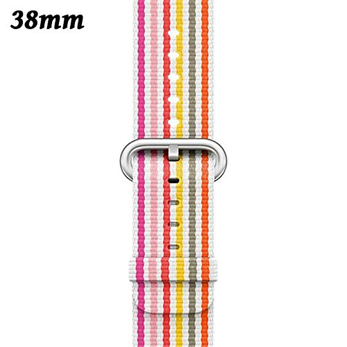 (Aoile 38/42mm Nylon Fabric Sports Wrist Band Strap Watchband for Apple Watch iWatch(Colorful Stripe,38mm))