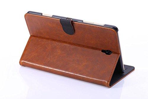 JIALUN-Personality teléfono shell Color sólido Crazy Horse textura de cuero de la PU cubierta de la caja Retro Flip soporte caso de tarjetas de ranuras para Samsung Galaxy Tab S 8.4 T700 Seguridad y M Brown