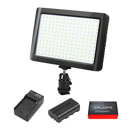 LED Video Light, GILUMI 192pcs Ultra Thin Dimmable High Power Panel Lamp on Camera Video Light with Battery for Canon Nikon Sony DSLR Camera/Camcorder ()
