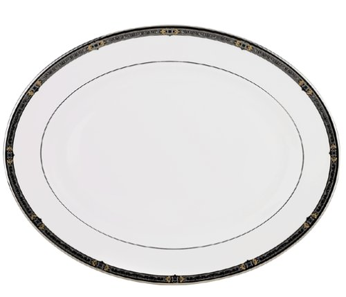 Lenox Vintage Jewel Platinum-Banded Bone China 16-Inch Platter Dishwasher Safe Platinum Platter