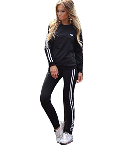 Akery Womens Sports Pullover Hoodie Tracksuit Sweat Pants Set 2 Pcs,Black,Small (Sweatsuits Juniors)