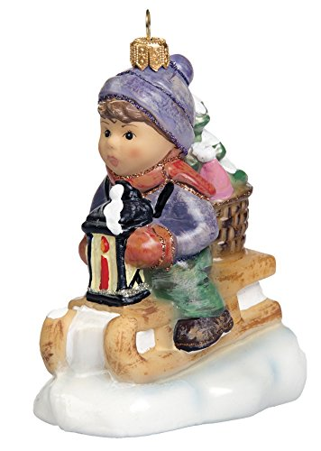 M.I. Hummel Ride Into Christmas Boy Sledding Polish Glass Christmas - Christmas Hummels
