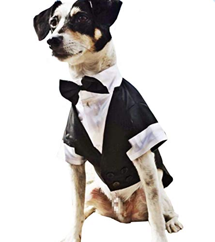 SAWMONG Dog Tuxedo Wedding Party Suit,Pet Costumes for Large Medium Small Dog,Dog Gentleman Attire with Bow (Back 16