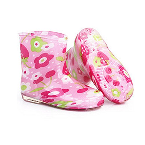 Kid's Rain Short Canister Boots Shoes Waterproof Rain Boots,Flower Pink