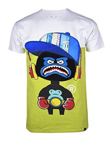 SCREENSHOTBRAND-S11909 Mens Hip-Hop Ultra Premium Tee - Luxury Longline Street Graffiti Cartoon Print T-Shirt-White-Large (La La La La La Hip Hop)