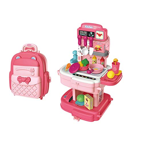 ARHA IINTERNATIONAL Big Size Portable Suitcase Shape Musical Kitchen Set Toy for Kids with Light and Accessories (School Bage Kitchen Pink)