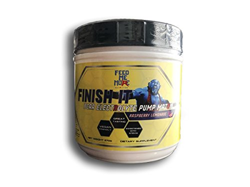 Finish It Premium BCAA Electrolyte Pump Matrix Sweetened with Stevia, No Artificial Colors, Vegan/Keto Friendly by Feed Me More