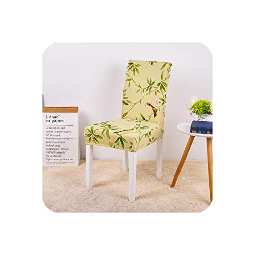 Drem-Wardrobe Spandex Chair Cover Modern Elastic Dining Seat Case for Banquet Wedding Restaurant Hotel Floral Print Room,Yellow,China,Universal Sizes