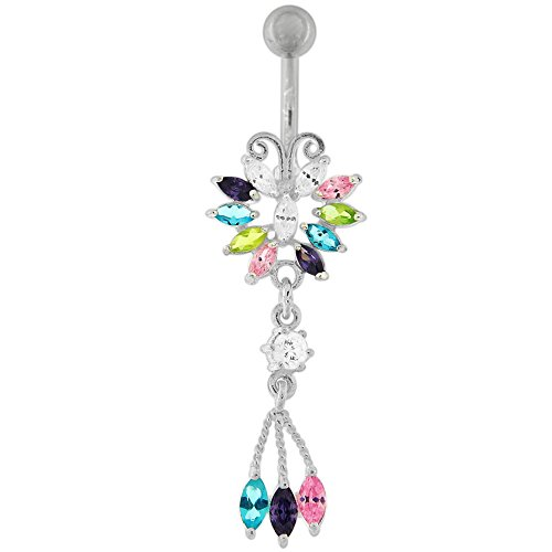 Multi Colored CZ Stone Butterfly with Tri Leaf Dangling Silver Belly Button Ring Jewelry