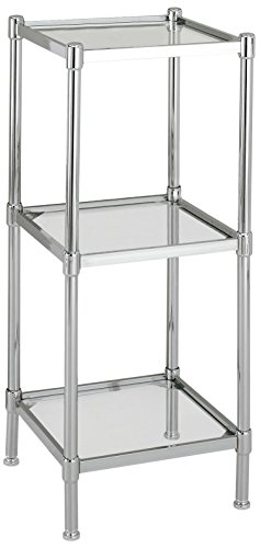 Organize It All 3 Tier Tempered Glass Freestanding Bathroom Storage Tower
