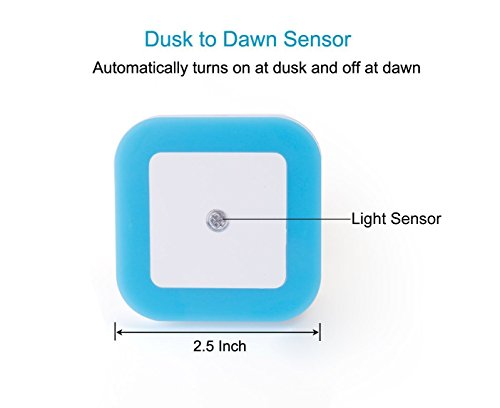 LED Plug-in Night Lights, Soft Blue Glow, Energy Efficient Nite Lights with Smart Dusk to Dawn Light Sensor [Pack of 2]