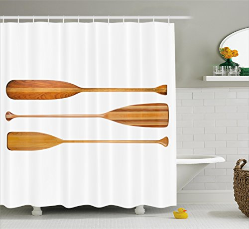 Oar Shower Curtain by Ambesonne, Three Traditional Wooden Canoe Paddles with Different Shape of Blades Exotic Sports, Fabric Bathroom Decor Set with Hooks, 70 Inches, Sand Brown