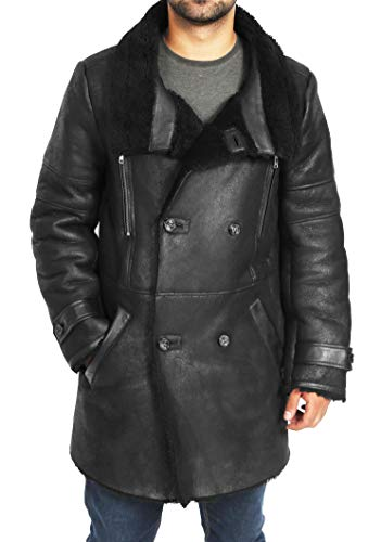 HOL Mens 3/4 Length Sheepskin Coat Double Breasted Shearling Reefer Bryan Black (XXX-Large)