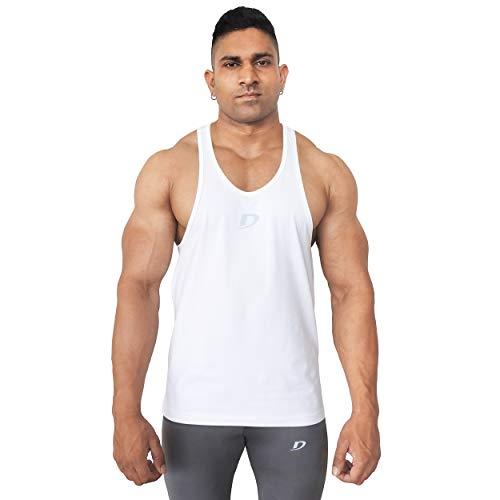 Decisive Fitness Gym Stringer Vest, Tank Top, Racer Back, Gym Vest, Mens Vest - White (M (38