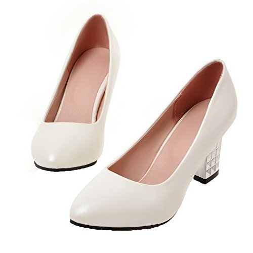 Solido Weenfashion Chiuso shoes Tacchi Pu Punta Tiro Rotondo Bianco Su Femminile Pompe Zpxnfq7AWX