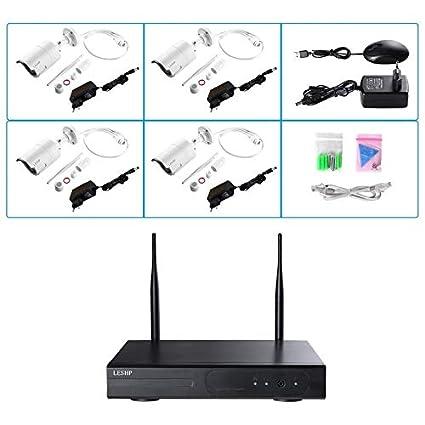 Yogasada Sistema de cámaras de Seguridad inalámbrica Leshp 4 CH 720p Video Recorder NVR 4 x