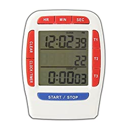 Digital Timer with LCD Display 3 Line Alarm Countdown Stopwatch, Red