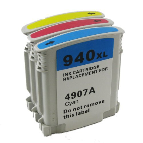 3 Pack Refurbished Cartridges for HP 940XL Cyan Magenta Yellow.