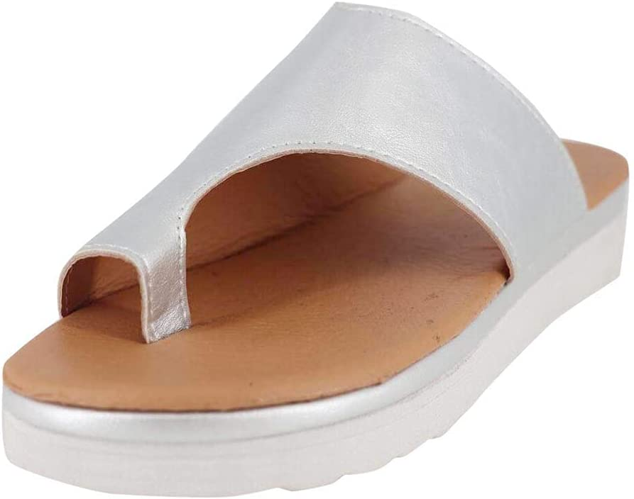 PFSCW Women Flat Sandals, Casual Sandals, Platform Wedge Sandals for Womens, Orthopedic Bunion Corrector Slippers, Fashion Breathable Open Toe Flip Flops Walking Indoor and Outdoor, PU Leather