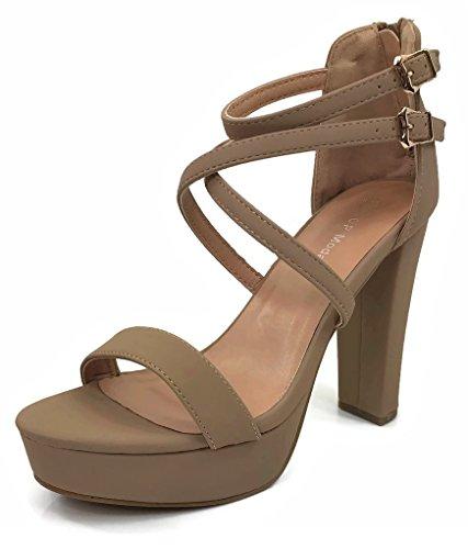 Women's Lovely Criss Cross Strap Platform Sandal Heels Ankle Strap High Stiletto Pump, Tan, (Criss Cross Sandal Pump)