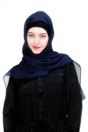 Solid color Fashion Scarf Chiffon Long Hijabs (Blue) - 3