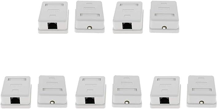 Homyl - Caja de derivación RJ45 de placa individual con casquillo de superficie individual Cat5e de 10 unidades: Amazon.es: Electrónica