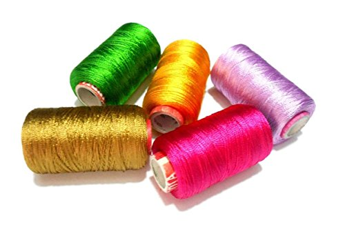 GOELX Silk Thread Spools For Wrapping Shiny Bright 5 Colours - Green,Deep Gold,Rani Pink,Yellow and Light purple