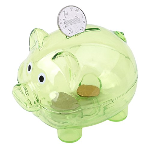 Edtoy Piggy Bank Small Piggy Banks for Child Creative Color Pig Piggy Banks for Birthday Gift (Green)