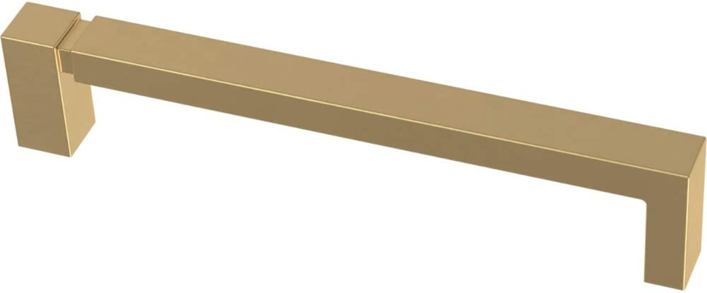 Franklin Brass P40824K-117-C Asymmetric Notched Kitchen or Furniture Cabinet Hardware Drawer Handle Pull, 5-1/16-Inch (128mm), Brushed Brass, 10-Pack