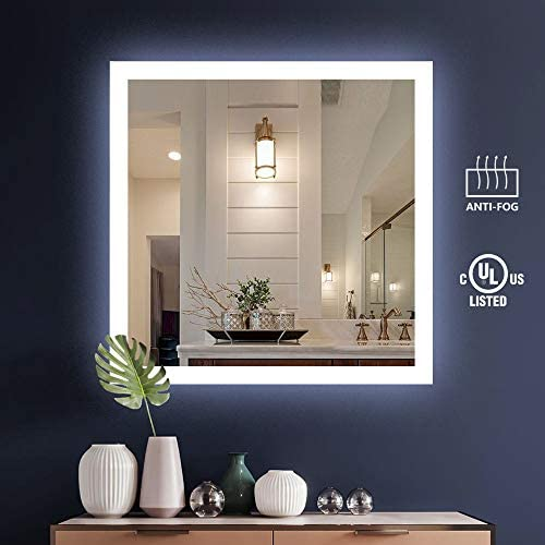 KIVA RHYME 36 X 36 Bathroom Make Up Wall Mounted Mirror,UL Listed Square Backlit LED Mirror with Anti-Fog Function No Touch Button ,Perfect for Home Use or Hotel Supplies