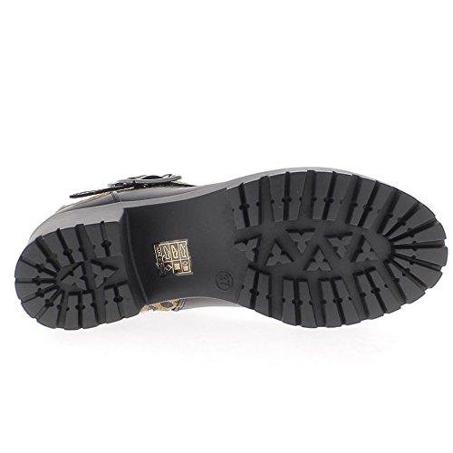 Stivali alti alla caviglia interno foderato nero 5cm staminali effetto leopardo tacco