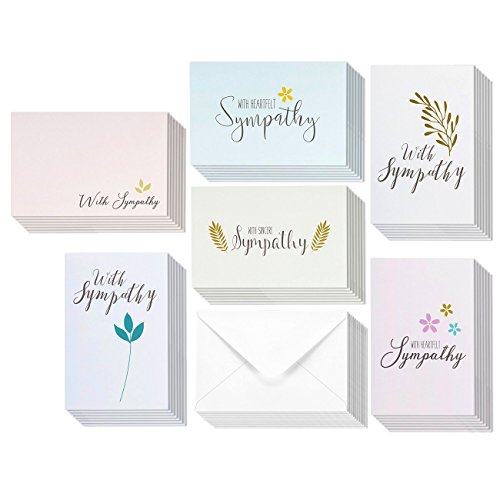 48 Pack Sympathy Greeting Cards Bulk Box Set 6 Classy Floral and Foliage Designs with Sentiments, Envelopes Included, 4 x 6 (Box Of Sympathy Cards)