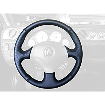 RedlineGoods steering wheel cover compatible with Acura RSX 2002-06. Black leather-Black thread