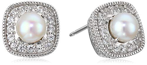 Sterling Silver Freshwater Cultured Pearl and Created White Sapphire Halo Cushion Stud Earrings