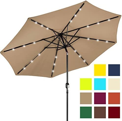 Best Choice Products 10ft Solar Powered Aluminum Polyester LED Lighted Patio Umbrella w Tilt Adjustment and Fade-Resistant Fabric, Tan