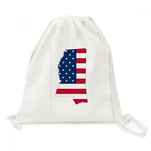 Mississippi USA Map Stars Stripes Flag Shape Canvas Drawstring Backpack Shopping Travel Lightweight Basic Bag Gift