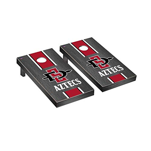 Victory Tailgate Regulation Collegiate NCAA Onyx Stained Stripe Series Cornhole Board Set - 2 Boards, 8 Bags - San Diego State University SDSU Aztecs