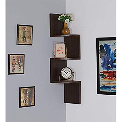 RJKART USHA Furniture Walnut Laminated Zigzag MDF Wall Mount Floating Corner Wall Shelves Rack  Brown