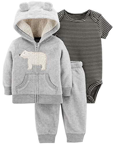 Polar Bear Pants - Carter's Baby Boys' 3-24 Months 3 Piece Polar Bear Print Little Jacket Set 3 Months,Gray