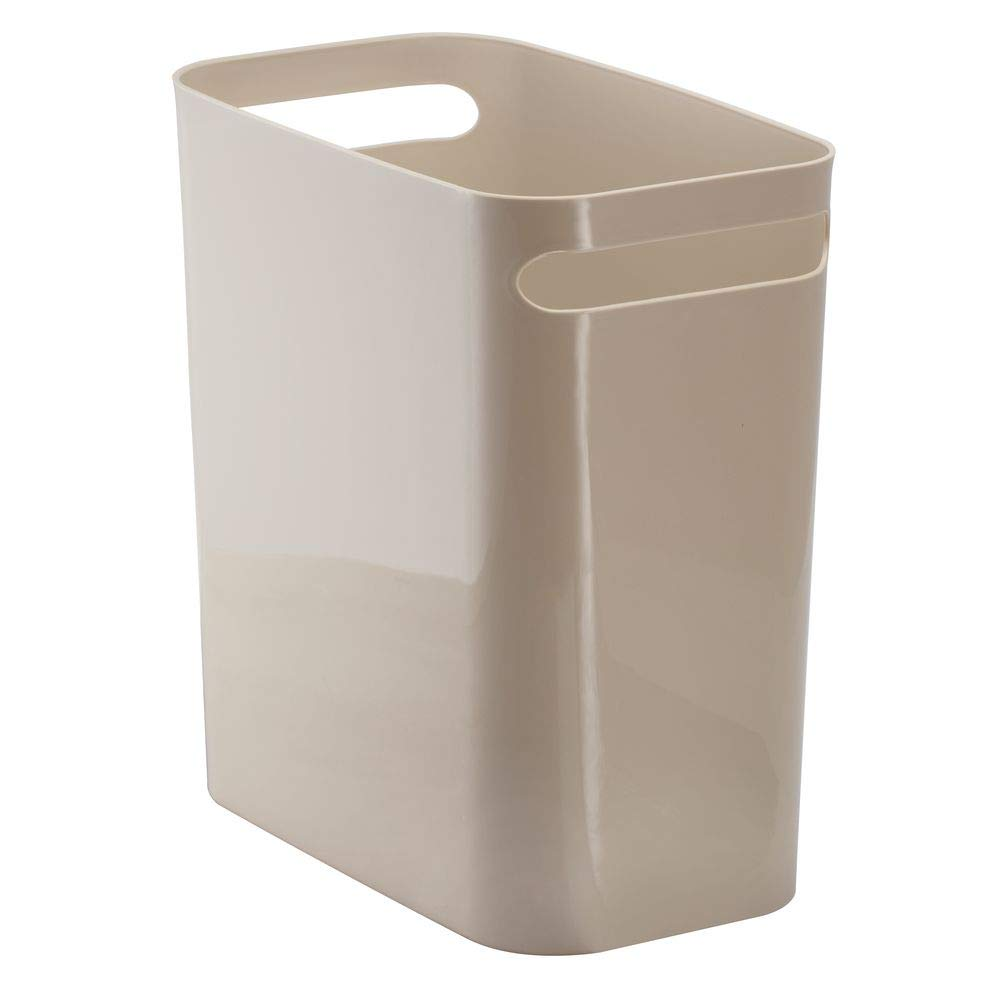 "mDesign Slim Plastic Rectangular Large Trash Can Wastebasket, Garbage Container Bin, Handles for Bathroom, Kitchen, Home Office, Dorm, Kids Room - 12"" High, Shatter-Resistant - Taupe/Tan"