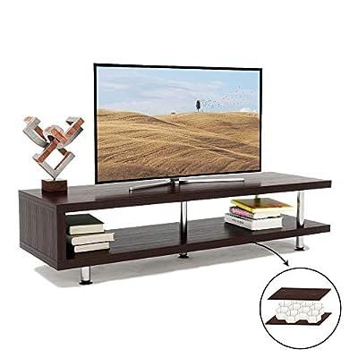 Bestier Transmit Modern Low Profile Tea Table 48 Inch TV Stand Book Shelves Storage