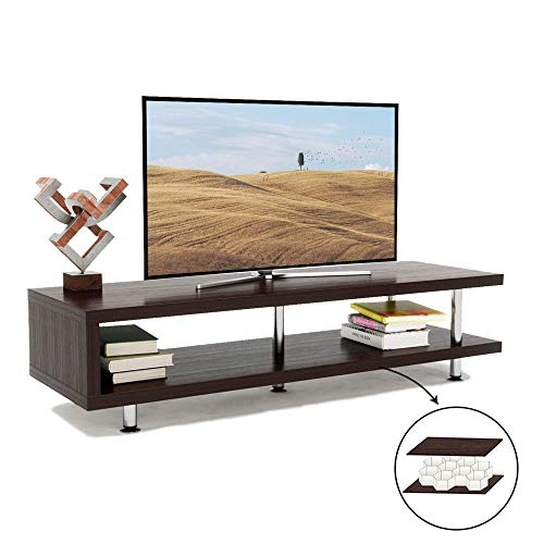 Bestier Short TV Stand with 2-Shelf Storage, 47inch Media Furniture Wood Storage Console with Steel Frame, Hollow Core Entertainment Center/Coffee Table/Sofa Table/Gaming Stand for Home Office (Home Entertainment Storage)