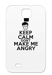 Shock-absorbent Keep Calm And Dont Make Me Angry Miscellaneous Keep Tees Funny T Shirt Tee Protective Case For Sumsang Galaxy S4 Black TPU