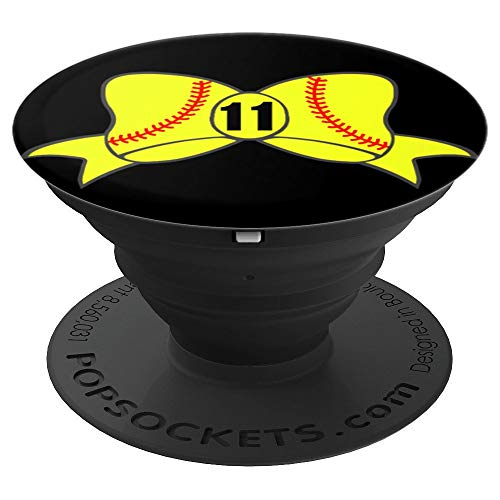 Softball Stitch Hair Bow Gift Custom Player Jersey ID #11 - PopSockets Grip and Stand for Phones and Tablets