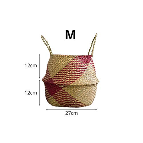 Dream-catching Nordic Foldable Handmade Storage Basket Patchwork Wicker Rattan Seagrass Belly Straw Garden Flower Pot Planter Laundry Basket,YAG 0054702,just Like The Image ()